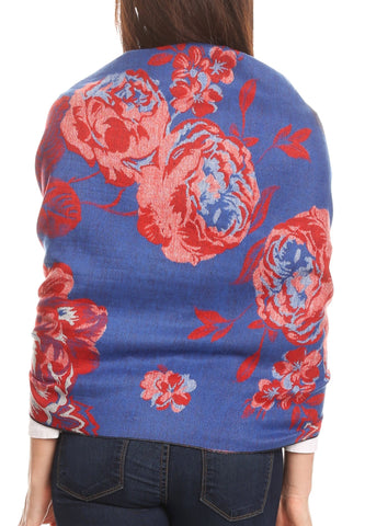 Sakkas Aurora Floral Rose Pashmina Scarf Shawl with Fringe Super Warm Soft Vegan