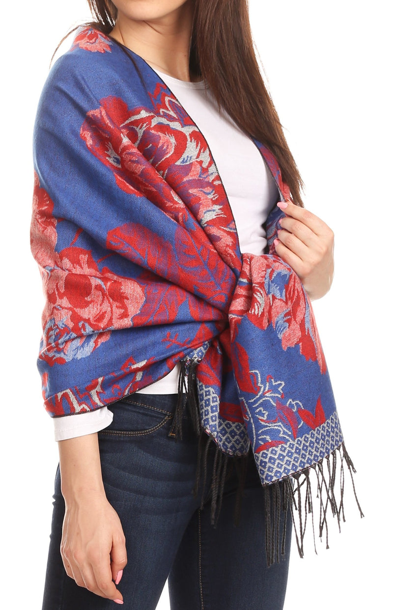 NEW Ladies Embroidered Floral Scarf Maxi Wrap Shawl Pashmina Soft Warm-RoyalBlue
