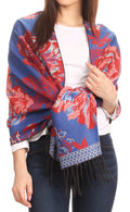 Sakkas Aurora Floral Rose Pashmina Scarf Shawl Wrap with Fringe Super Warm Soft#color_Royal blue/red
