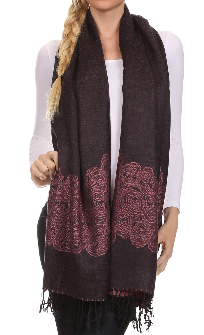 Sakkas Aubry dual colored ranunculus border soft Pashmina/ Shawl/ Wrap/ Stole