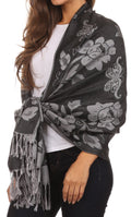 Sakkas Tawny Reversible Butterfly Pashmina/ Shawl/ Wrap/ Stole#color_ Black