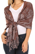 Sakkas Tawny Reversible Butterfly Pashmina/ Shawl/ Wrap/ Stole#color_ Brown