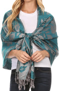 Sakkas Tawny Reversible Butterfly Pashmina/ Shawl/ Wrap/ Stole#color_Green