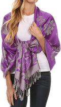 Sakkas Tawny Reversible Butterfly Pashmina/ Shawl/ Wrap/ Stole#color_Purple