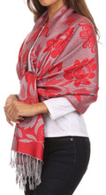 Sakkas Tawny Reversible Butterfly Pashmina/ Shawl/ Wrap/ Stole#color_ Red