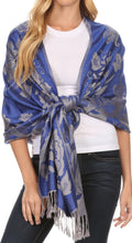 Sakkas Tawny Reversible Butterfly Pashmina/ Shawl/ Wrap/ Stole#color_Royal Blue