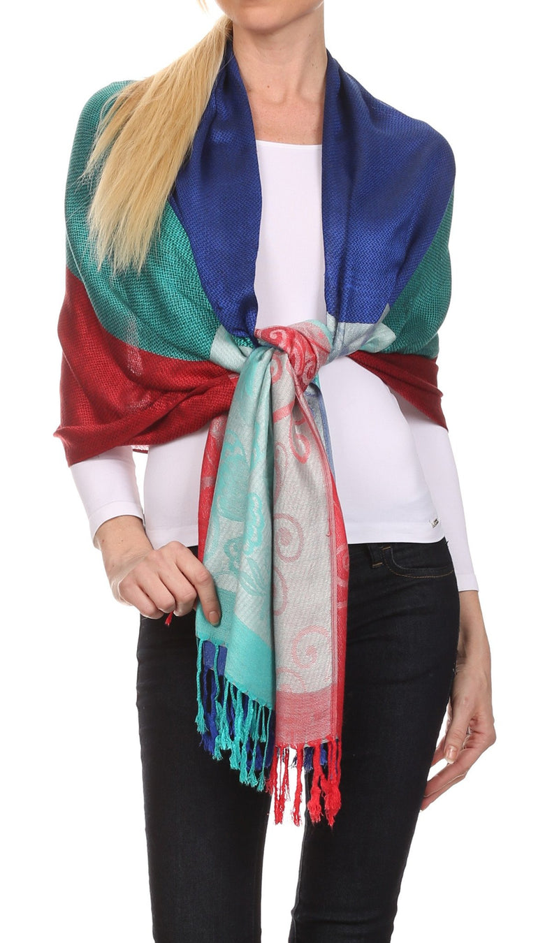 Sakkas Tricia Multi-Colored Silky Butterfly Pashmina/ Shawl/ Wrap/ Stole