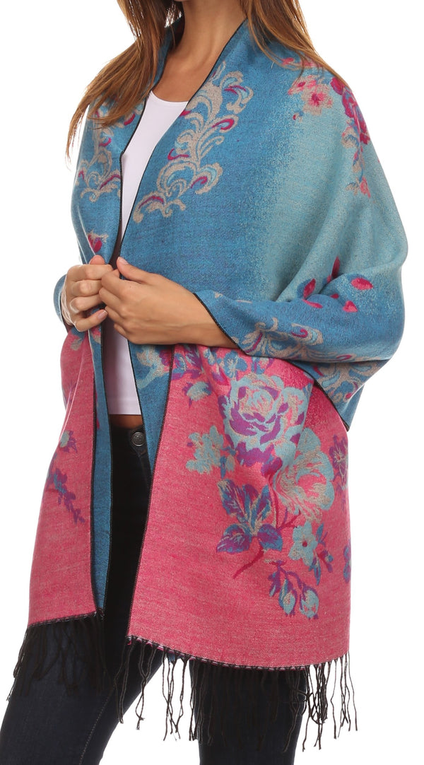 Sakkas Ontario double layer floral Pashmina/ Shawl/ Wrap/ Stole with fringe#color_1-Aqua