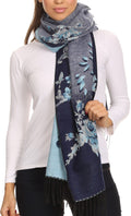 Sakkas Ontario double layer floral Pashmina/ Shawl/ Wrap/ Stole with fringe#color_1-Blue