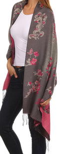 Sakkas Ontario double layer floral Pashmina/ Shawl/ Wrap/ Stole with fringe#color_1-Grey
