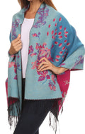 Sakkas Ontario double layer floral Pashmina/ Shawl/ Wrap/ Stole with fringe#color_1-Pink