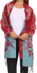 Sakkas Ontario double layer floral Pashmina/ Shawl/ Wrap/ Stole with fringe#color_1-RedBlue