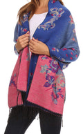 Sakkas Ontario double layer floral Pashmina/ Shawl/ Wrap/ Stole with fringe#color_1-Royal