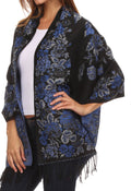 Sakkas Ontario double layer floral Pashmina/ Shawl/ Wrap/ Stole with fringe#color_2-BlackBlue