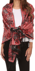 Sakkas Ontario double layer floral Pashmina/ Shawl/ Wrap/ Stole with fringe#color_2-BlackRed