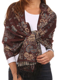 Sakkas Ontario double layer floral Pashmina/ Shawl/ Wrap/ Stole with fringe#color_2-Brown