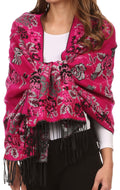 Sakkas Ontario double layer floral Pashmina/ Shawl/ Wrap/ Stole with fringe#color_2-Fuchsia
