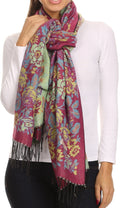 Sakkas Ontario double layer floral Pashmina/ Shawl/ Wrap/ Stole with fringe#color_2-FuchsiaGreen