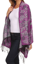 Sakkas Ontario double layer floral Pashmina/ Shawl/ Wrap/ Stole with fringe#color_2-Violet