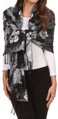 Sakkas Ontario double layer floral Pashmina/ Shawl/ Wrap/ Stole with fringe#color_3-Black