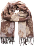 Sakkas Ontario double layer floral Pashmina/ Shawl/ Wrap/ Stole with fringe#color_3-Brown