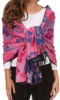 Sakkas Ontario double layer floral Pashmina/ Shawl/ Wrap/ Stole with fringe#color_3-Cobalt