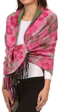Sakkas Ontario double layer floral Pashmina/ Shawl/ Wrap/ Stole with fringe#color_3-Green