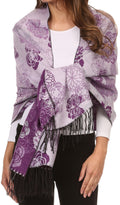 Sakkas Ontario double layer floral Pashmina/ Shawl/ Wrap/ Stole with fringe#color_3-Purple