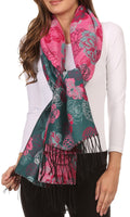 Sakkas Ontario double layer floral Pashmina/ Shawl/ Wrap/ Stole with fringe#color_3-Teal