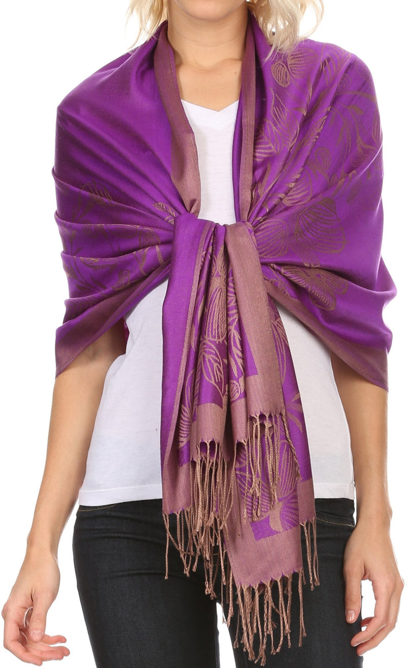 Sakkas Ella Dogwood Flower Straight Border Pashmina/ Shawl/ Wrap/ Stole