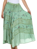 Sakkas Moon Dance Gypsy Boho Skirt#color_Sage Green