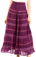 Sakkas Lace and Ribbon Peasant Boho Skirt#color_Purple