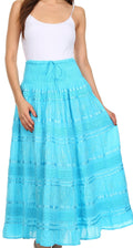 Sakkas Lace and Ribbon Peasant Boho Skirt#color_Turquoise