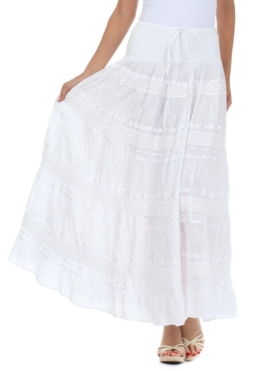 group-White (Sakkas Lace and Ribbon Peasant Boho Skirt)
