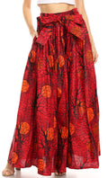 Sakkas Asma Convertible Traditional Wax Print Adjustable Strap Maxi Skirt | Dress#color_1035-RedMulti