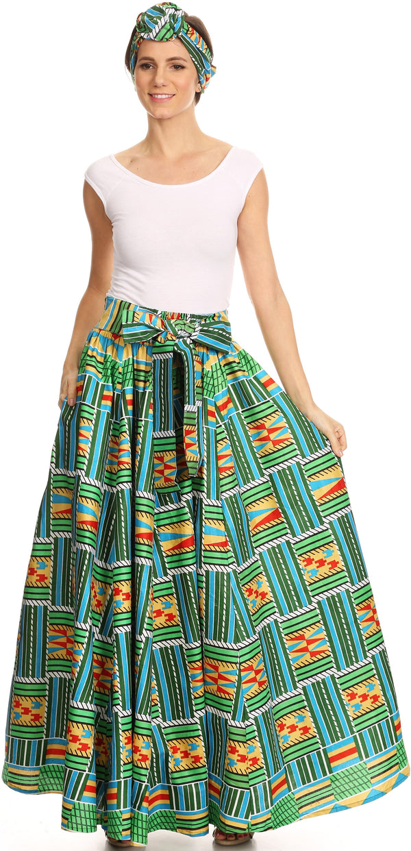 Sakkas Asma Convertible Traditional Wax Print Adjustable Strap Maxi Skirt | Dress#color_1113-Green