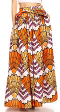 Sakkas Asma Convertible Traditional Wax Print Adjustable Strap Maxi Skirt | Dress#color_18-WhiteMulti