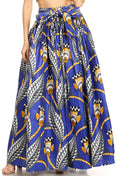 Sakkas Asma Convertible Traditional Wax Print Adjustable Strap Maxi Skirt | Dress#color_19-BlueMulti