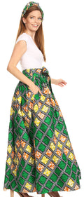 Sakkas Asma Convertible Traditional Wax Print Adjustable Strap Maxi Skirt | Dress#color_22-Multi