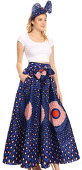 Sakkas Asma Convertible Traditional Wax Print Adjustable Strap Maxi Skirt | Dress#color_23-Multi