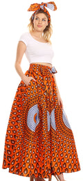 Sakkas Asma Convertible Traditional Wax Print Adjustable Strap Maxi Skirt | Dress#color_24-Multi