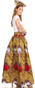 Sakkas Asma Convertible Traditional Wax Print Adjustable Strap Maxi Skirt | Dress#color_25-Multi