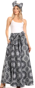 Sakkas Asma Convertible Traditional Wax Print Adjustable Strap Maxi Skirt | Dress#color_26-BlackWhite