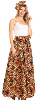Sakkas Asma Convertible Traditional Wax Print Adjustable Strap Maxi Skirt | Dress#color_27-Multi