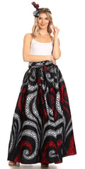 Sakkas Asma Convertible Traditional Wax Print Adjustable Strap Maxi Skirt | Dress#color_28-Multi