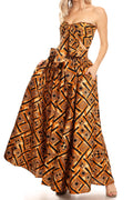 Sakkas Asma Convertible Traditional Wax Print Adjustable Strap Maxi Skirt | Dress#color_30-Multi
