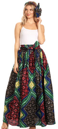 Sakkas Asma Convertible Traditional Wax Print Adjustable Strap Maxi Skirt | Dress#color_32-Multi