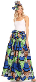 Sakkas Asma Convertible Traditional Wax Print Adjustable Strap Maxi Skirt | Dress#color_33-Multi