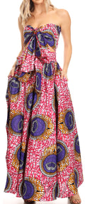 Sakkas Asma Convertible Traditional Wax Print Adjustable Strap Maxi Skirt | Dress#color_34-Multi