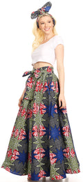 Sakkas Asma Convertible Traditional Wax Print Adjustable Strap Maxi Skirt | Dress#color_38-Multi